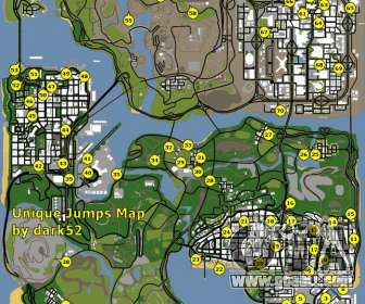 Map of unique jumps in GTA San Andreas