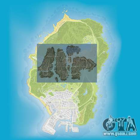 a Comparison of the sizes of maps of GTA 5 and GTA 4