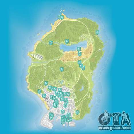 Map of stunt jumps in Grand Theft Auto 5