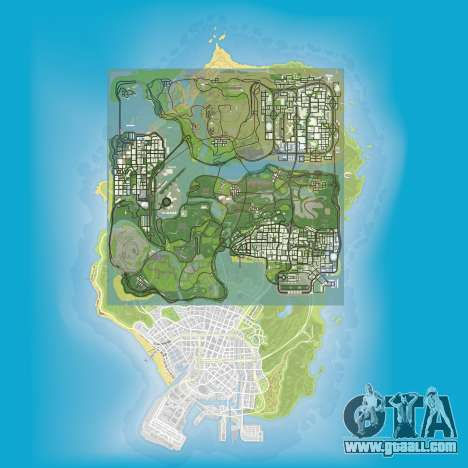 a Comparison of the sizes of maps of GTA 5 and GTA San Andreas