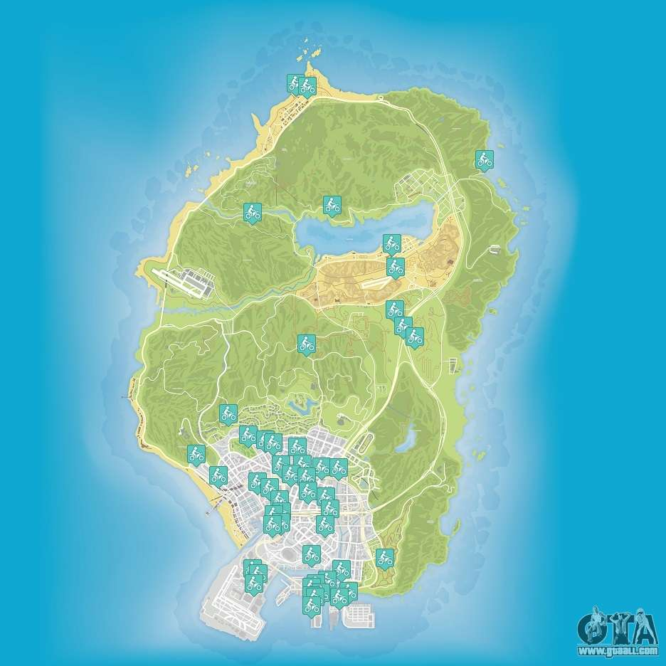 Map grand theft auto v - Map Of Stunt Jumps In Grand Theft Auto 5