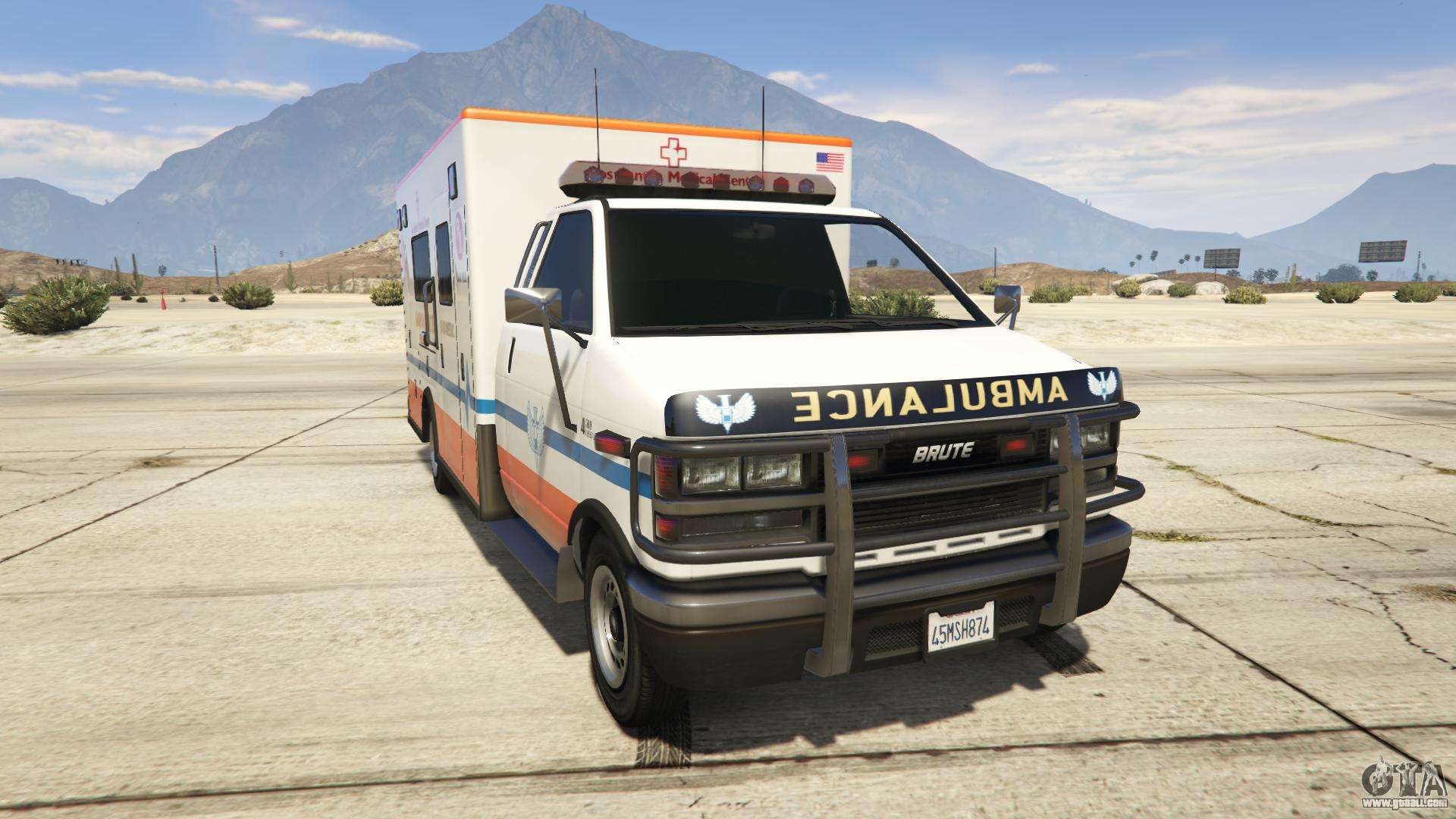 GTA 5 Brute Ambulance Saints Medical Center - front view