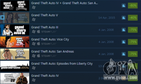 Huge discounts on Grand Theft Auto games