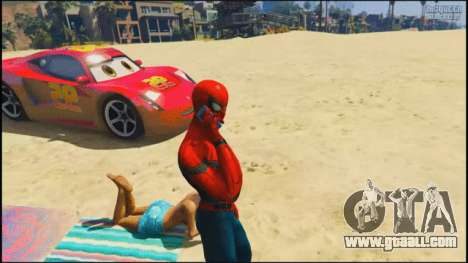 Spider-man on the beach in GTA 5