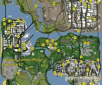 Карта уникальных прыжков в GTA San Andreas