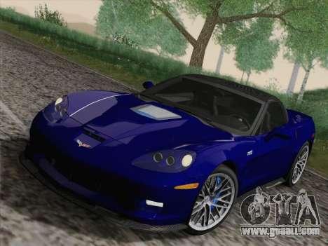 Chevrolet Corvette ZR1 for GTA San Andreas inner view