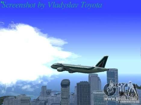 Airbus A320-214 Alitalia v.1.0 for GTA San Andreas bottom view