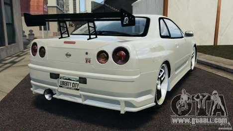 Nissan Skyline GT-R R34 for GTA 4 back left view