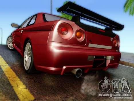 Nissan R34 Skyline GT-R for GTA San Andreas left view