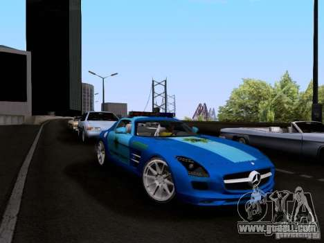 Mercedes-Benz SLS AMG Blue SCPD for GTA San Andreas right view