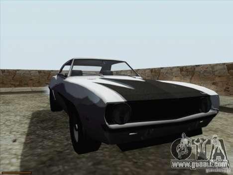 Chevrolet Camaro 1969 for GTA San Andreas bottom view