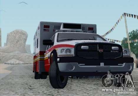 Dodge Ram Ambulance for GTA San Andreas bottom view