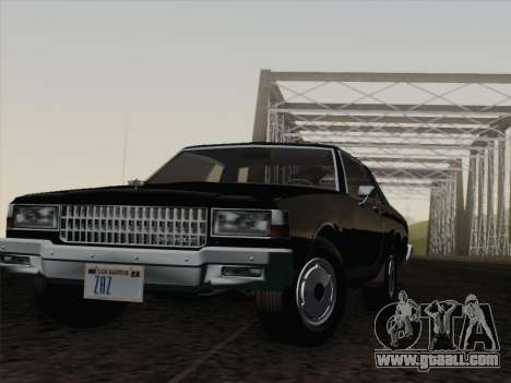 Chevrolet Caprice 1986 for GTA San Andreas bottom view