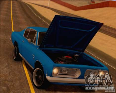 Plymouth Barracuda 1968 for GTA San Andreas engine