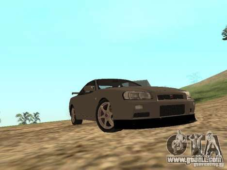 Nissan Skyline GTR R34 for GTA San Andreas inner view