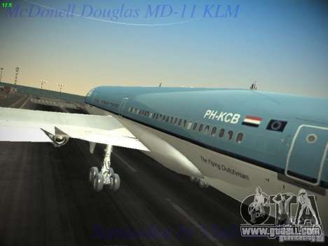 McDonnell Douglas MD-11 KLM Royal Dutch Airlines for GTA San Andreas inner view