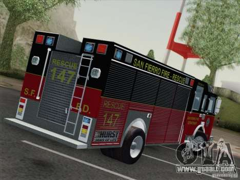 Pierce SFFD Rescue for GTA San Andreas back left view