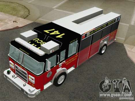 Pierce SFFD Rescue for GTA San Andreas back view