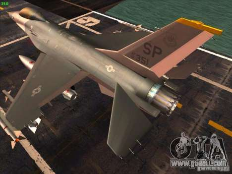 F-16C Fighting Falcon for GTA San Andreas back left view
