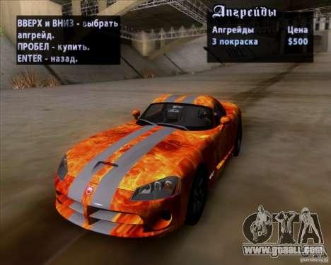 Dodge Viper SRT-10 Coupe for GTA San Andreas interior