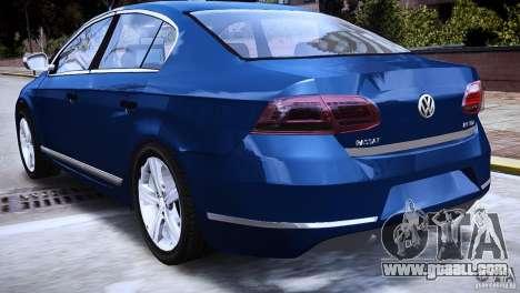 VW Passat B7 TDI Blue Motion for GTA 4 back left view