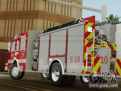 Pierce Saber LAFD Engine 10 for GTA San Andreas upper view