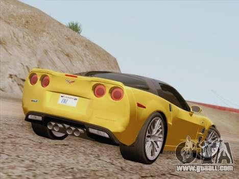 Chevrolet Corvette ZR1 for GTA San Andreas back left view