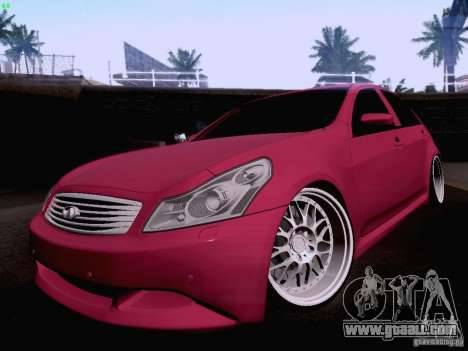Infiniti G37 Sedan for GTA San Andreas bottom view