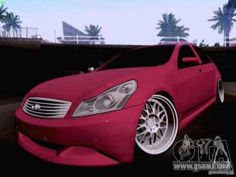 Infiniti G37 Sedan for GTA San Andreas bottom view