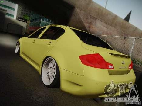 Infiniti G37 Sedan for GTA San Andreas inner view