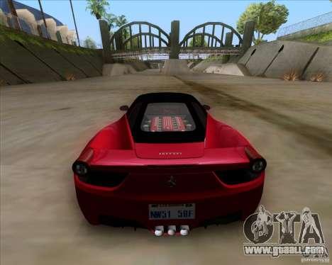 Ferrari 458 Italia V12 TT Black Revel for GTA San Andreas back left view
