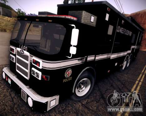 Pierce Contendor LAPD SWAT for GTA San Andreas back left view
