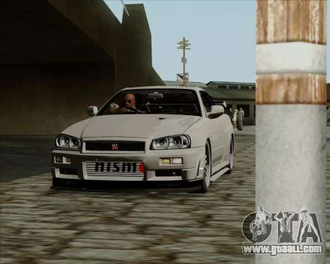 Nissan Skyline GTR R34 for GTA San Andreas left view