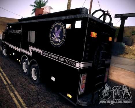 Pierce Contendor LAPD SWAT for GTA San Andreas back view