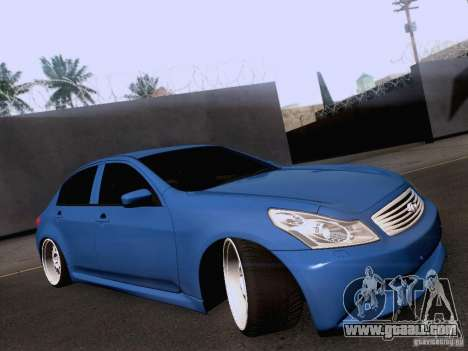 Infiniti G37 Sedan for GTA San Andreas back left view
