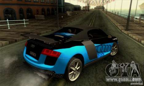 Audi R8 Spyder Tunable for GTA San Andreas bottom view