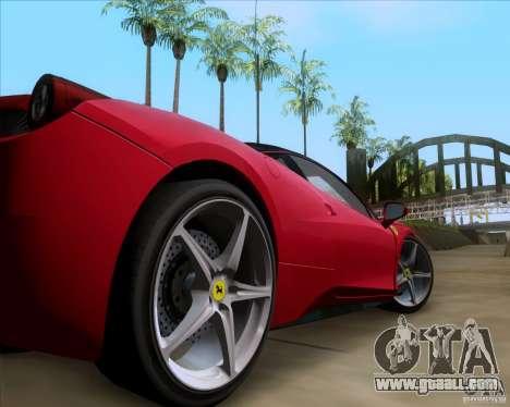 Ferrari 458 Italia V12 TT Black Revel for GTA San Andreas back view