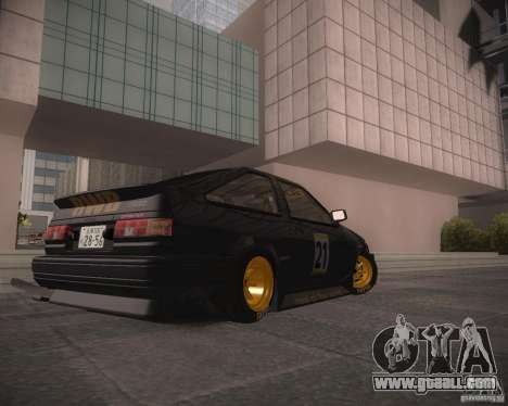 Toyota Levin AE86 RWB for GTA San Andreas back left view