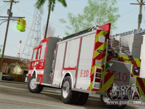Pierce Saber LAFD Engine 10 for GTA San Andreas back left view