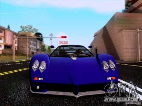 Pagani Zonda C12S Roadster for GTA San Andreas inner view