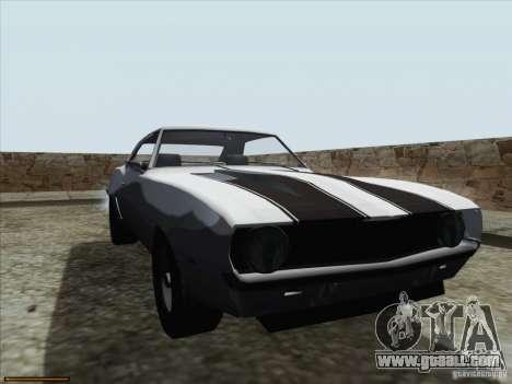 Chevrolet Camaro 1969 for GTA San Andreas upper view