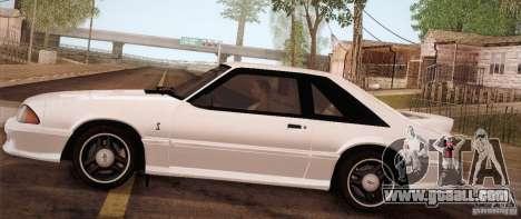 Ford Mustang SVT Cobra 1993 for GTA San Andreas back left view
