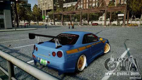 Nissan BNR-34 GT-R for GTA 4 back left view