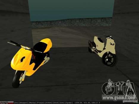 Yamaha Aerox for GTA San Andreas inner view