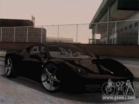 Ferrari 458 Italia 2010 for GTA San Andreas