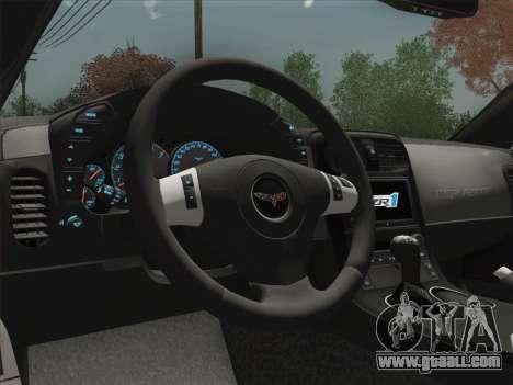 Chevrolet Corvette ZR1 for GTA San Andreas upper view