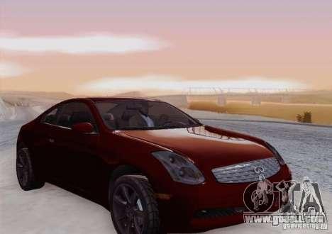 Infiniti G35 for GTA San Andreas upper view