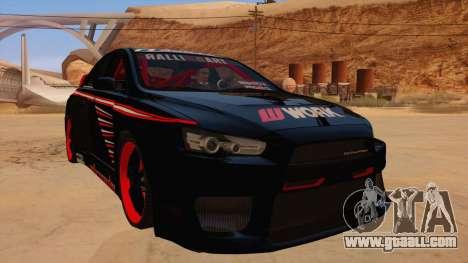 Mitsubishi Lancer Evolution X Pro Street for GTA San Andreas back view