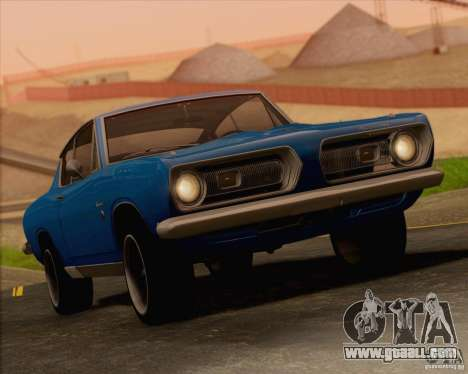 Plymouth Barracuda 1968 for GTA San Andreas bottom view