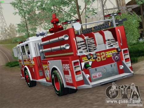 Seagrave Marauder II Engine 62 SFFD for GTA San Andreas back left view